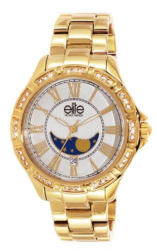 Elite Models Fashion e53494g 101 Damen Armbanduhr 045J699 Analog weiss Armband Stahl Gold