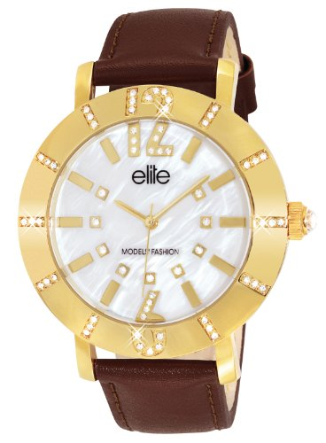 Elite Models Fashion e53502g 105 Quarz Analog Weisses Ziffernblatt Armband Leder braun