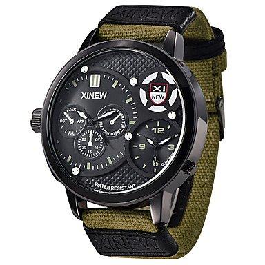Fenkoo Militaeruhr Modeuhr Armbanduhr Japanischer Quartz Kalender Wasserdicht Duale Zeitzonen Stoff Band Bettelarmband