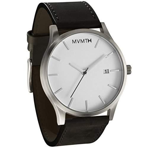 MVMT Herren Watch Uhr WhiteBlack Leather Armband Uhr