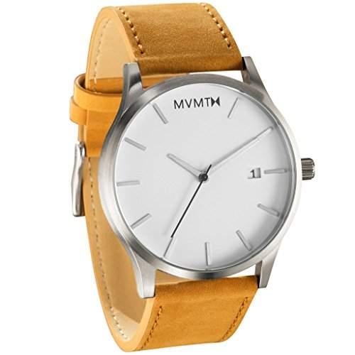 MVMT Herren Armbanduhr, Weißes Zifferblatt, mit braunem Lederband