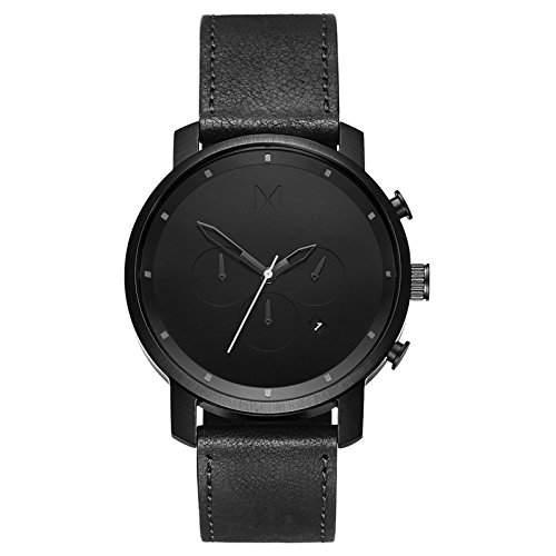 MVMT Herren Watch Uhr BlackBlack Leder Armband MC01BL