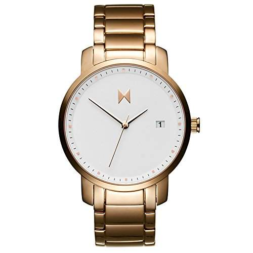 MVMT Damen watch Uhr Female White Rose Gold poliertes Edelstahl Armband MF01-RG
