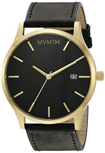 MVMT Herren Watch Uhr BlackGold Leder Armband MM01BGL