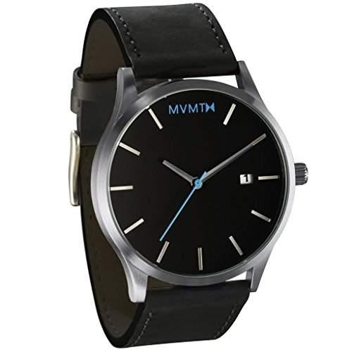 MVMT Herren Watch Uhr BlackSilver Leder Armband MM01BSL