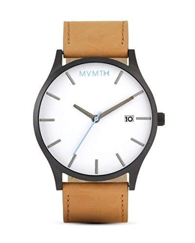 MVMT Herren Watch Uhr WhiteBlack Tan Leder Armband MM01WBTL
