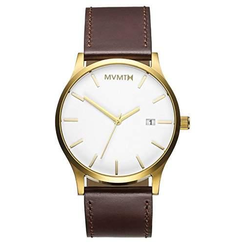 MVMT Herren Watch Uhr WhiteGold Leder Armband MM01WGL