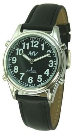 Sprechende Funk-Armbanduhr Damen & Herren Lederarmband Black Stile Herrenuhr