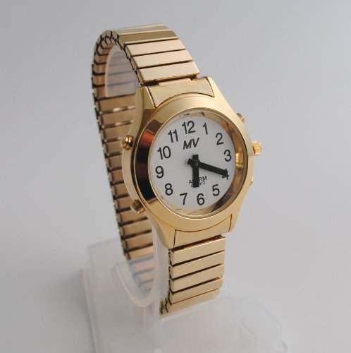 Sprechende Analog-Armbanduhr fuer Damen 32 mm goldfarben mit Metall-Zugband D-GM