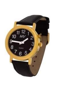 "MV ""Black Edition"" sprechende Armbanduhr fuer Herren 34 mm goldfarben mit Lederarmband H-BL"