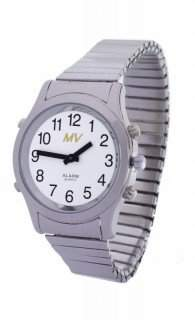 Sprechende Armbanduhr White Edition Silber-Metall Herrenuhr