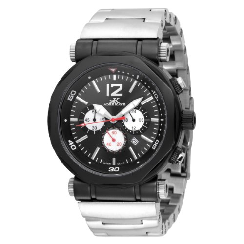 Adee Kaye Herren AK8921 MIPB BLK Kette Sport Collection Chronograph Stainless Steel Black Watch