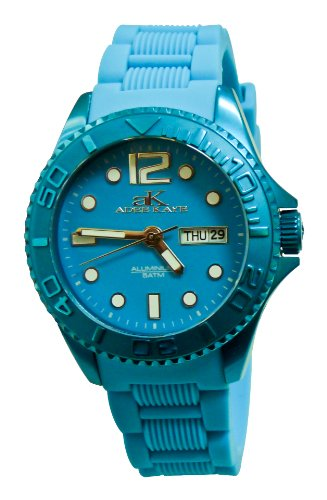 Adee Kaye D Aluminio Damen Blau Silizium Armband Mineral Glas Uhr ak5433 L BU