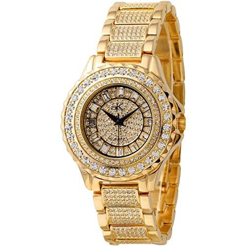 Adee Kaye Ice Damen Gold Blech Armband Blech Gehaeuse Uhr AK9 10LG CR