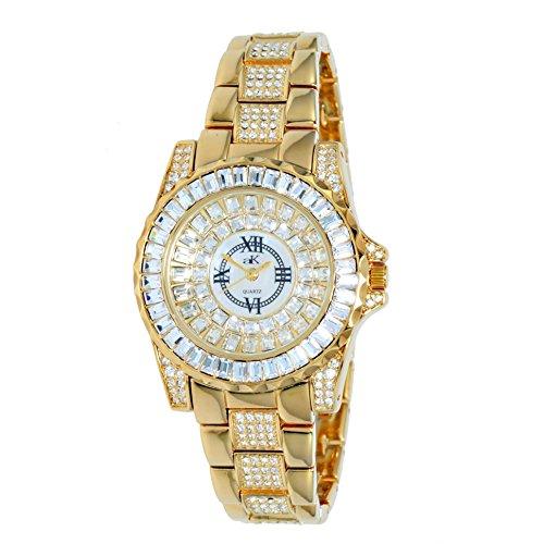 Adee Kaye Royal Damen Gold Blech Armband Blech Gehaeuse Uhr AK9 11LG CR