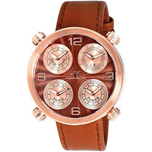 Adee Kaye Zone Herren Braun Leder Armband Edelstahl Gehaeuse Uhr AK2275 MRGBN