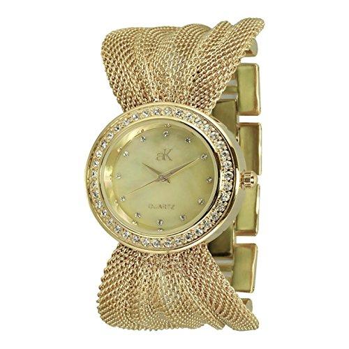 Adee Kaye Fame Damen 32 5mm Gold Blech Armband Blech Gehaeuse Uhr ak20 LG