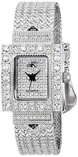 Adee Kaye Belt Of Stars Damen Silber Blech Armband Blech Gehaeuse Uhr ak24 L CR