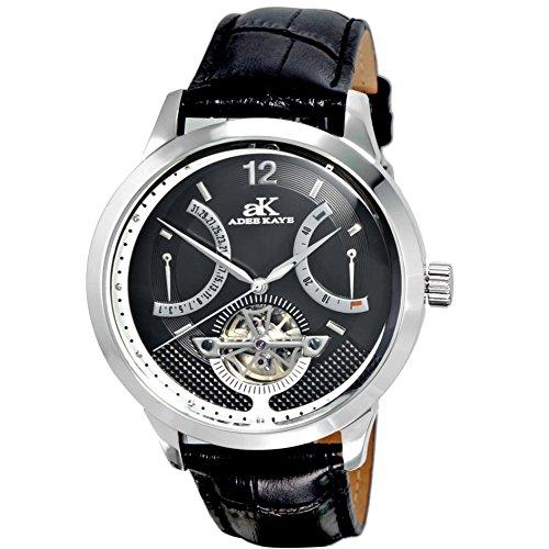 Adee Kaye Race Herren Automatikwerk Schwarz Leder Armband Datum Uhr AK2241 M BK