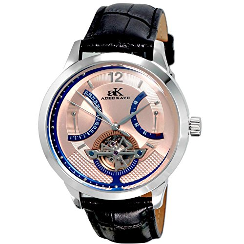Adee Kaye Race Herren Automatikwerk Schwarz Leder Armband Datum Uhr AK2241 M SM