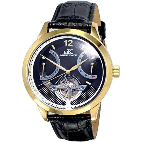 Adee Kaye Race Herren Automatikwerk Schwarz Leder Armband Datum Uhr AK2241 MG BK