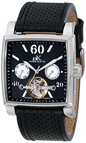 Adee Kaye Ak9043 Herren Automatikwerk Schwarz Leder Armband Uhr ak9043 M BK
