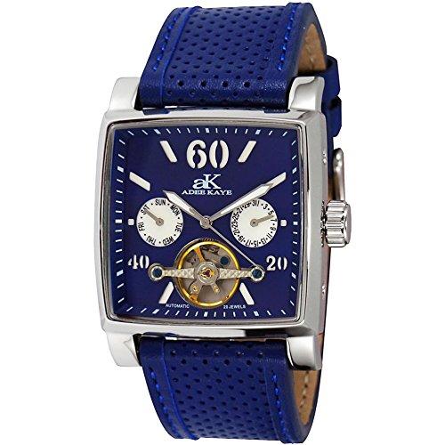 Adee Kaye Ak9043 Herren Automatikwerk Blau Leder Armband Datum Uhr ak9043 M BU