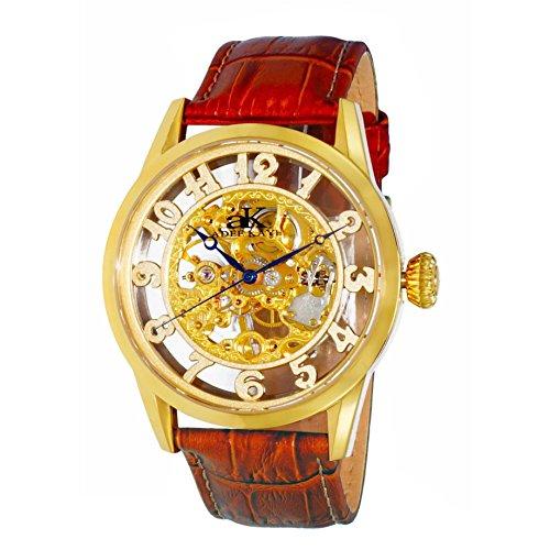 Adee Kaye Glass Herren Automatikwerk Braun Leder Armband Uhr AK2296 MG