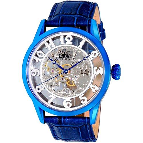 Adee Kaye Glass Herren Automatikwerk Blau Leder Armband Uhr AK2296 MIPBU