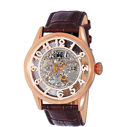 Adee Kaye Glass Herren Automatikwerk Braun Leder Armband Uhr AK2296 MRG