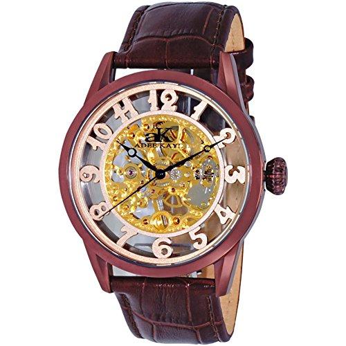 Adee Kaye Glass Herren Automatikwerk Braun Leder Armband Uhr AK2296 MRGBN