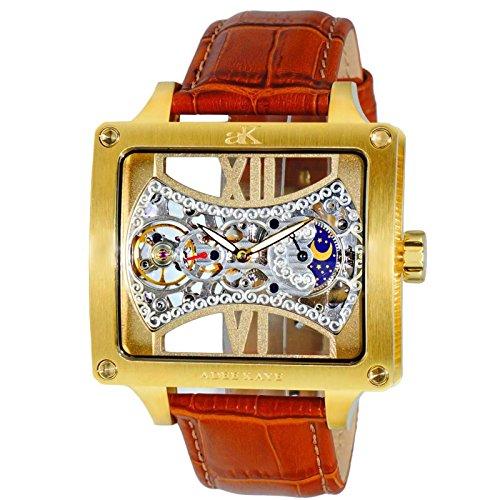 Adee Kaye Edge Herren Automatikwerk Braun Leder Armband Uhr ak2297 MG