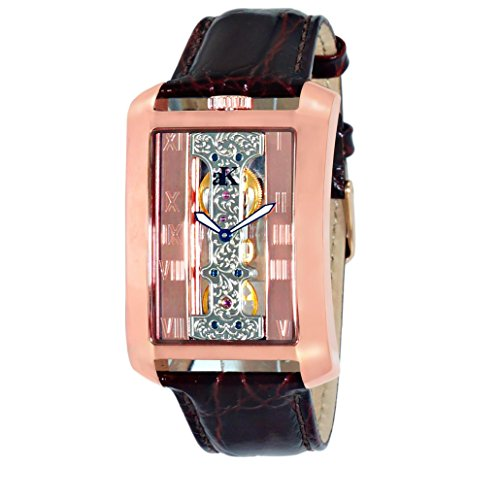 Adee Kaye Tablet Herren Automatikwerk Braun Leder Armband Uhr ak7171 MRG