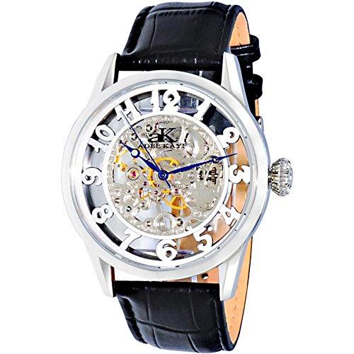 Adee Kaye Glass Herren Automatikwerk Schwarz Leder Armband Uhr AK2296 MSV