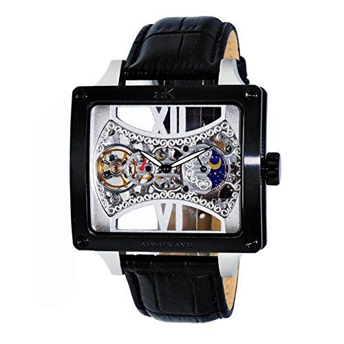 Adee Kaye Edge Herren Automatikwerk Schwarz Leder Armband Uhr ak2297 MIPB