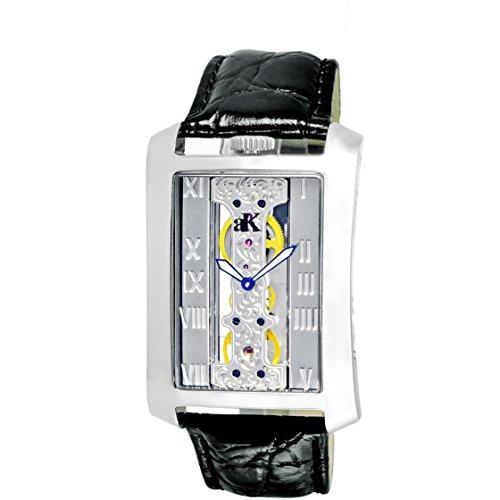 Adee Kaye Tablet Herren Automatikwerk Schwarz Leder Armband Uhr ak7171 M