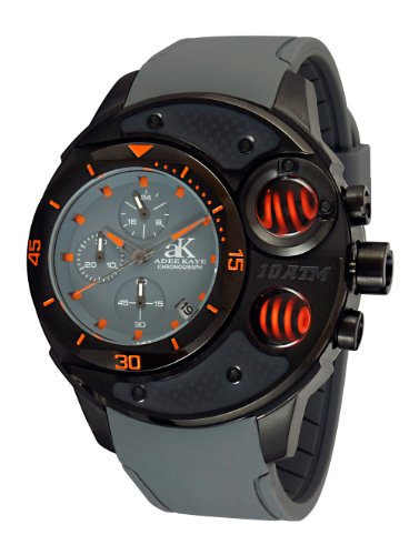 Adee Kaye Carbon Fiber Mineral Glas Uhr AK8003 MIPB GY GY OR
