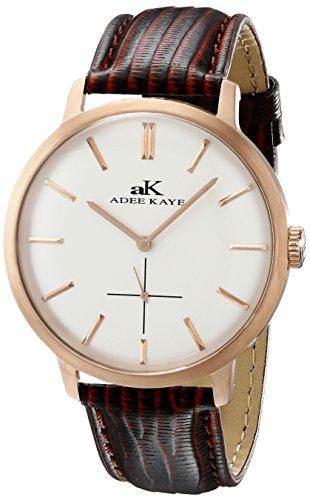 Adee Kaye Classique Herren Braun Leder Armband Mineral Glas Uhr AK2225 MRG SV