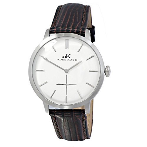 Adee Kaye Classique Herren Braun Leder Armband Edelstahl Gehaeuse Uhr AK2225 MSV