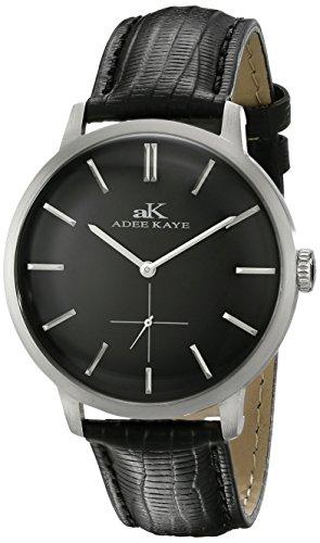 Adee Kaye Classique Herren Schwarz Leder Armband Mineral Glas Uhr AK2225 MBK