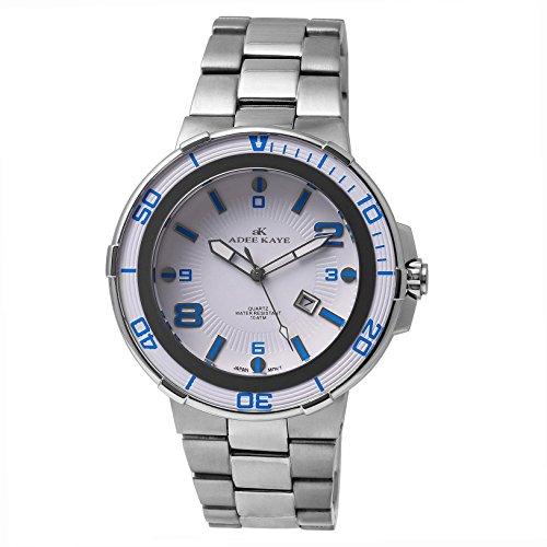 Adee Kaye Corredor Herren Silber delstahl Armband Gehaeuse Uhr ak7445 M WT