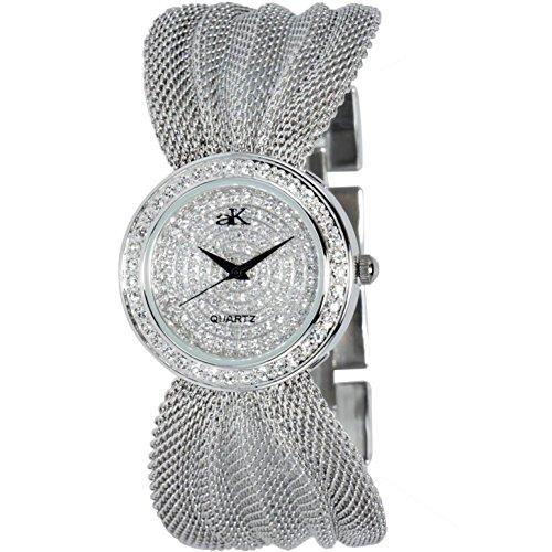 Adee Kaye Fame 32 5mm Armband Messing Silber Gehaeuse Quarz Analog ak20 L CR