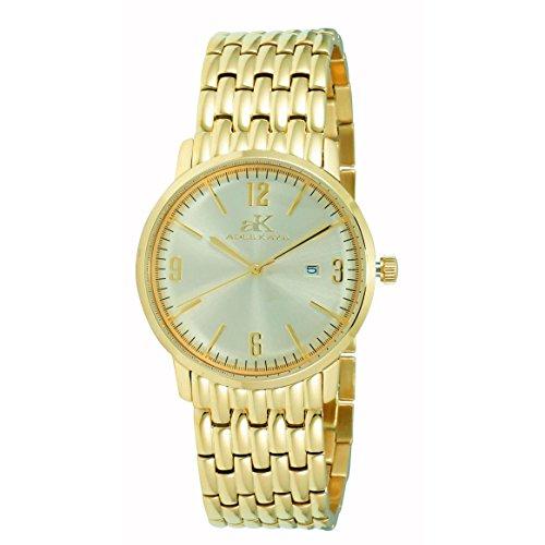 Adee Kaye Dome Herren Damen Gold delstahl Armband Gehaeuse Uhr AK8224 LGG