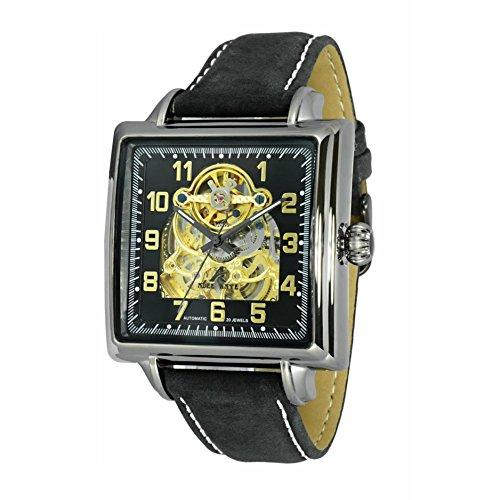 Adee Kaye Elegante Herren Automatikwerk Mineral Glas Uhr AK8022 MGN BKGD BKS