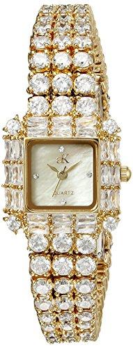 Adee Kaye Glitter Damen Gold Blech Armband Blech Gehaeuse Uhr ak27 LG