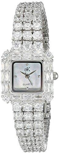 Adee Kaye Glitter Damen Silber Blech Armband Blech Gehaeuse Uhr ak27 L