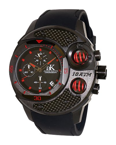 Adee Kaye Carbon Fiber 53 74mm Armband Silikon Gehaeuse Edelstahl Quarz ak8002 MIPB RED