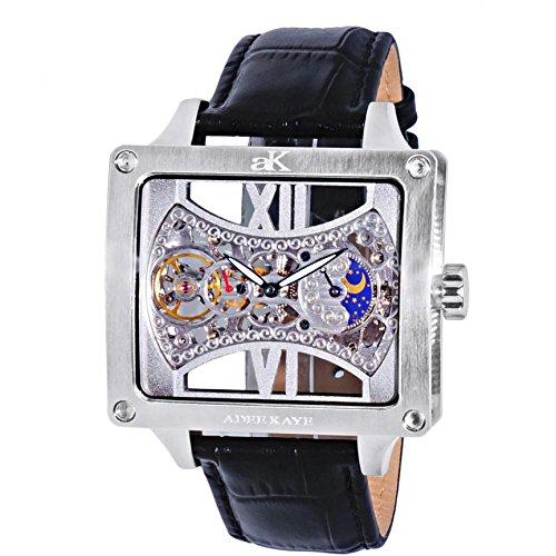 Adee Kaye Edge 53mm Armband Kalbsleder Schwarz Gehaeuse Edelstahl Automatik ak2297 MSV
