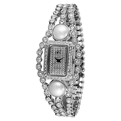 Adee Kaye Fame Damen Silber Keramik Armband Keramik Gehaeuse Uhr AK9 70L CR