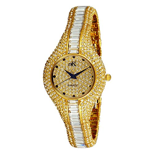 Adee Kaye Corona Royal Damen Gold Keramik Armband Keramik Gehaeuse Uhr AK9 68LG